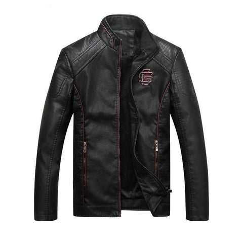 Image of Men's Slim Fit Casual Leather Jacket