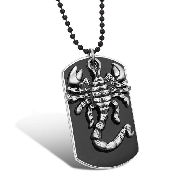 Men's Black Dog Tag Military Necklace  With Silver Scorpion Pendant