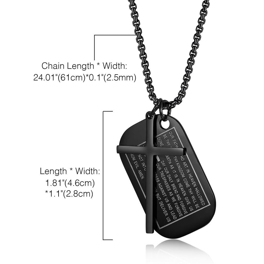 Men's Dog Tag Necklaces With Cross Pendant