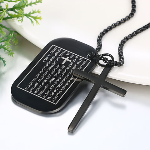 Image of Men's Dog Tag Necklaces With Cross Pendant