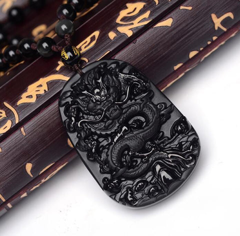 Image of Black Obsidian Carved Dragon pendant Necklace