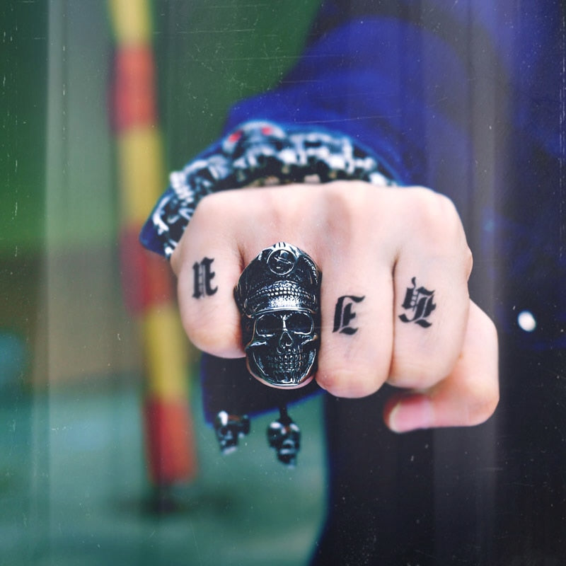 Legion Officer Punk Skull Ring