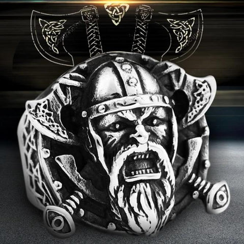 Shield & Axe Viking Ring