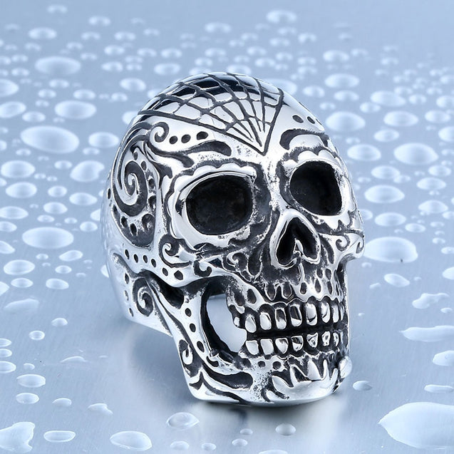 Flower Garden Mens Skull Ring