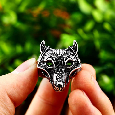 Image of Mens Nordic Viking Wolf Ring