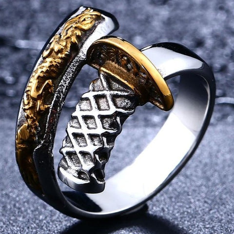 316L Stainless Steel Japanese Samurai Sword Man`s Ring fashion jewelry