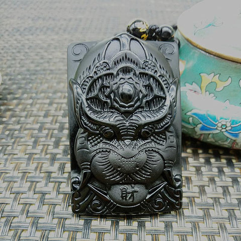 Image of Black Pendant Obsidian Hand-Carved Tiger Necklace