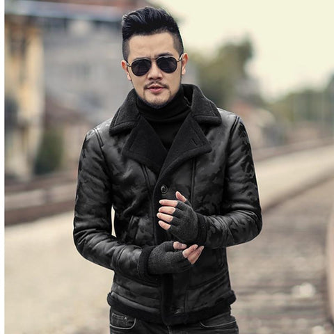 Men's Black Camouflage fur Collar casual jacket