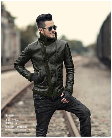 Image of Men's Black Camouflage fur Collar casual jacket