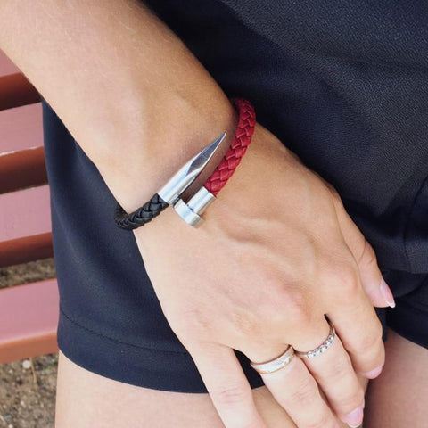 Black & Red  Genuine Leather Nail Bracelet