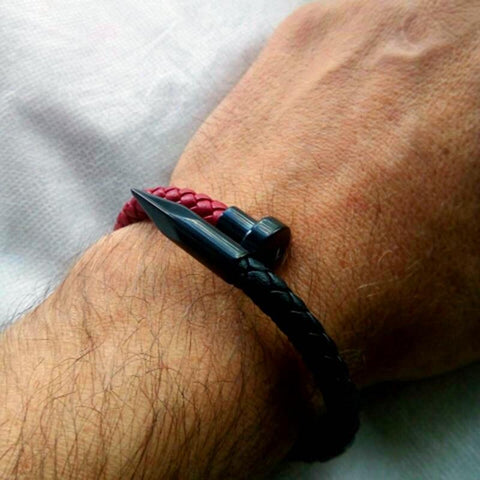 Image of Black & Red  Genuine Leather Nail Bracelet