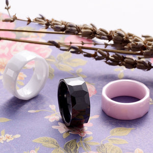 Black White Pink Geometric Ceramic Ring For Men And Women