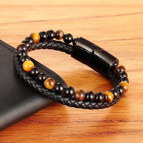 Image of beaded leather bracelet