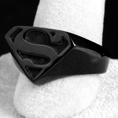 Men's Stainless Steel Black Superman Ring