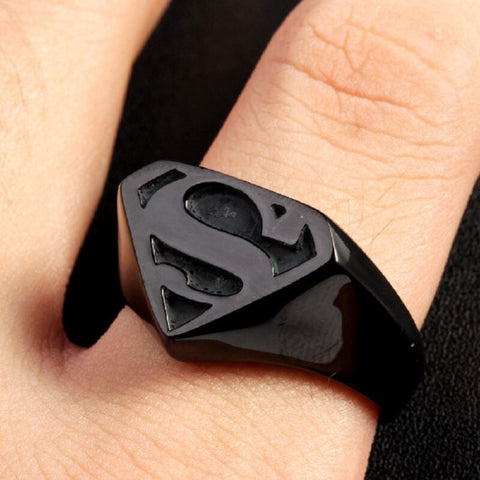 Image of Men's Stainless Steel Black Superman Ring