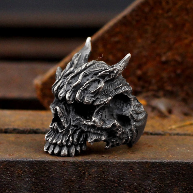 Men's Black Asura Skull Ring 316L Stainless Steel