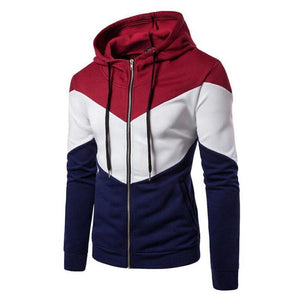 Tre Colori Casual Zipper Hoodie Sweatshirt