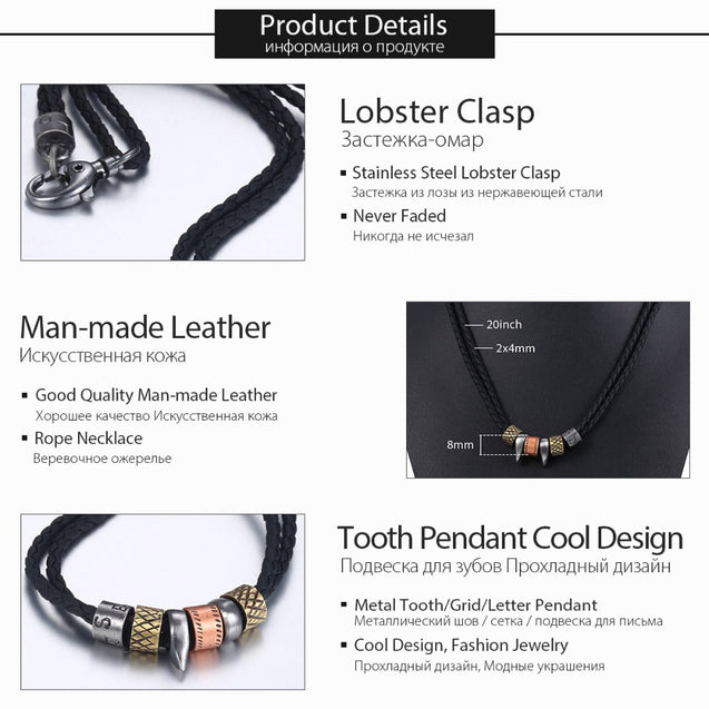 Tooth Pendant Handmade Leather Necklaces for Men