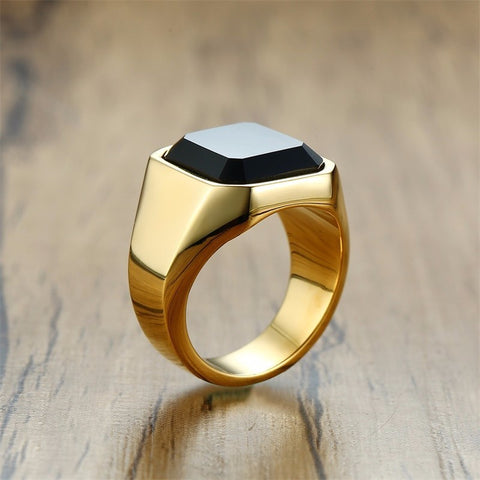 Image of Dignified Black Carnelian Signet Ring for Men
