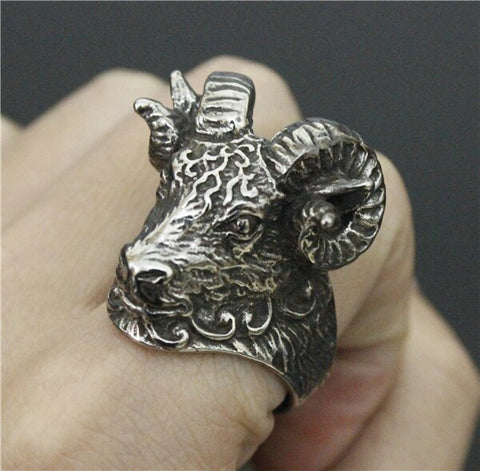 Heavy Big Goat Head Ring 316L Stainless