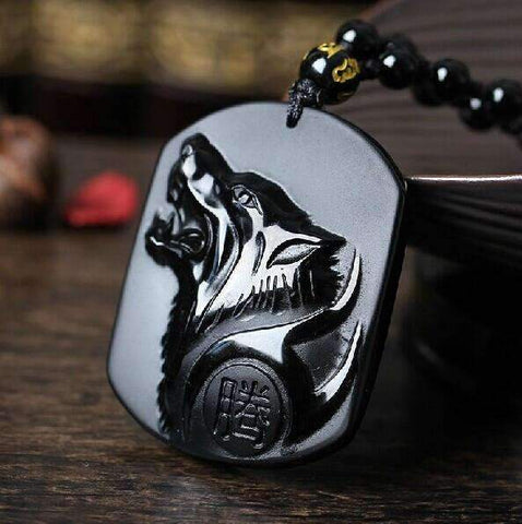 Image of Black Wolf Obsidian Necklace