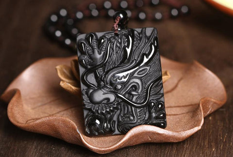 Image of Black Obsidian Dragon Head Pendant Necklace