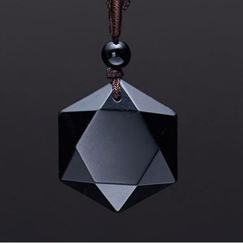 Obsidian Star Pendant Necklace