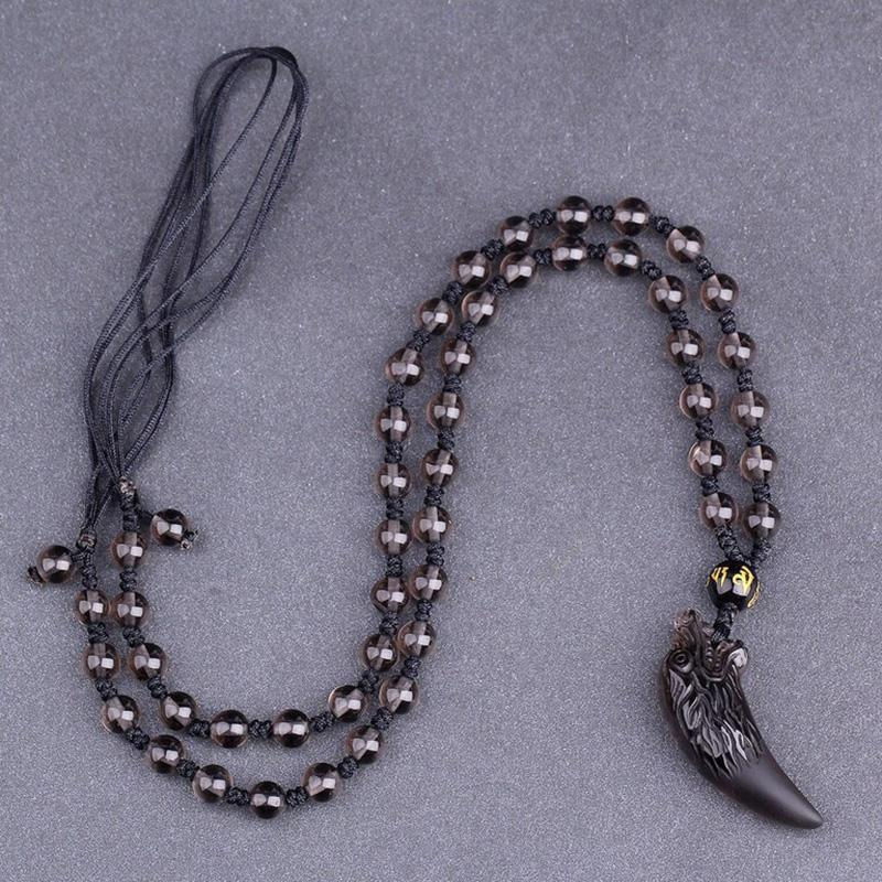 Obsidian Wolf Tooth Necklace