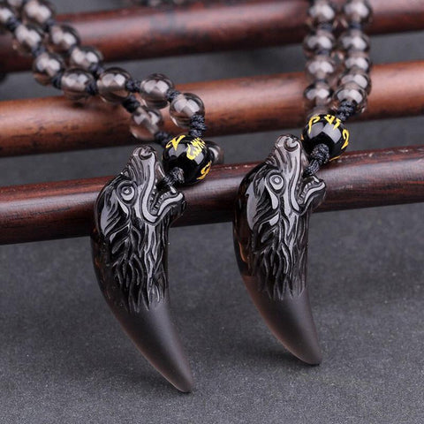 Image of Obsidian Wolf Tooth Necklace