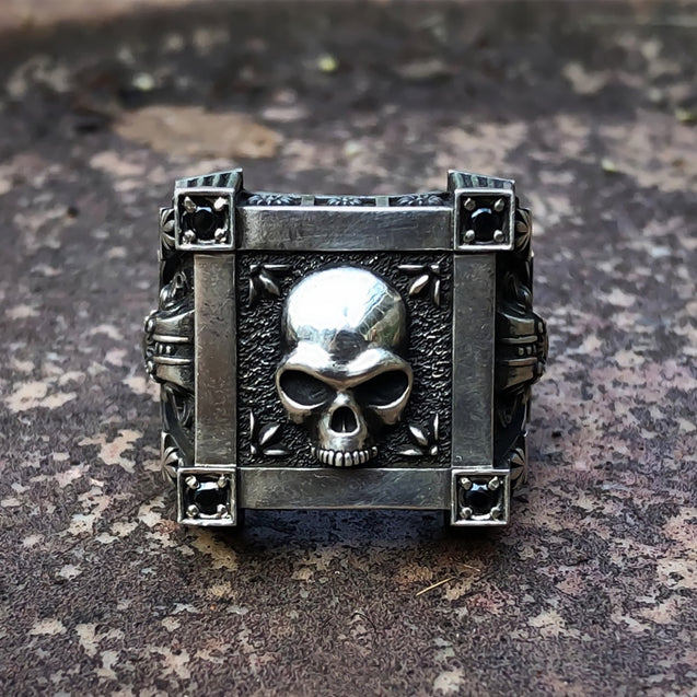 Gothic Skull Flat Top Stainless Steel Signet Ring
