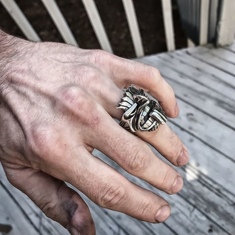Image of Māori Mythology Silver Stainless Steel Tiki Totem Rings