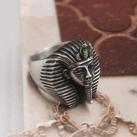 Egypt Tutankhamun Ring Men's Ancient Pharaoh Stainless Steel Rings