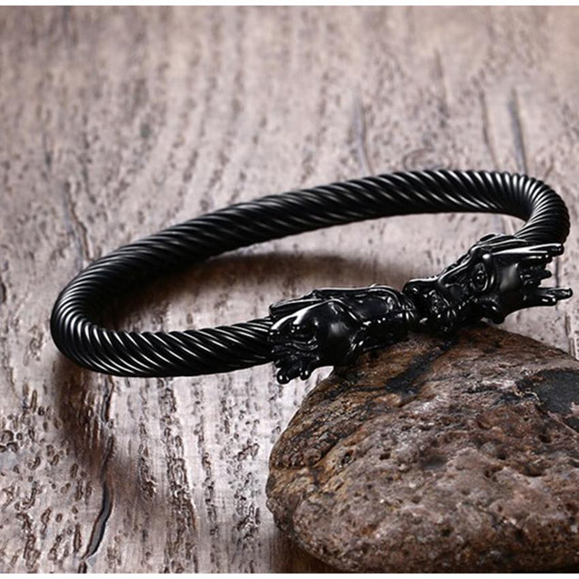 Black Dragon Heads Bangle Bracelet