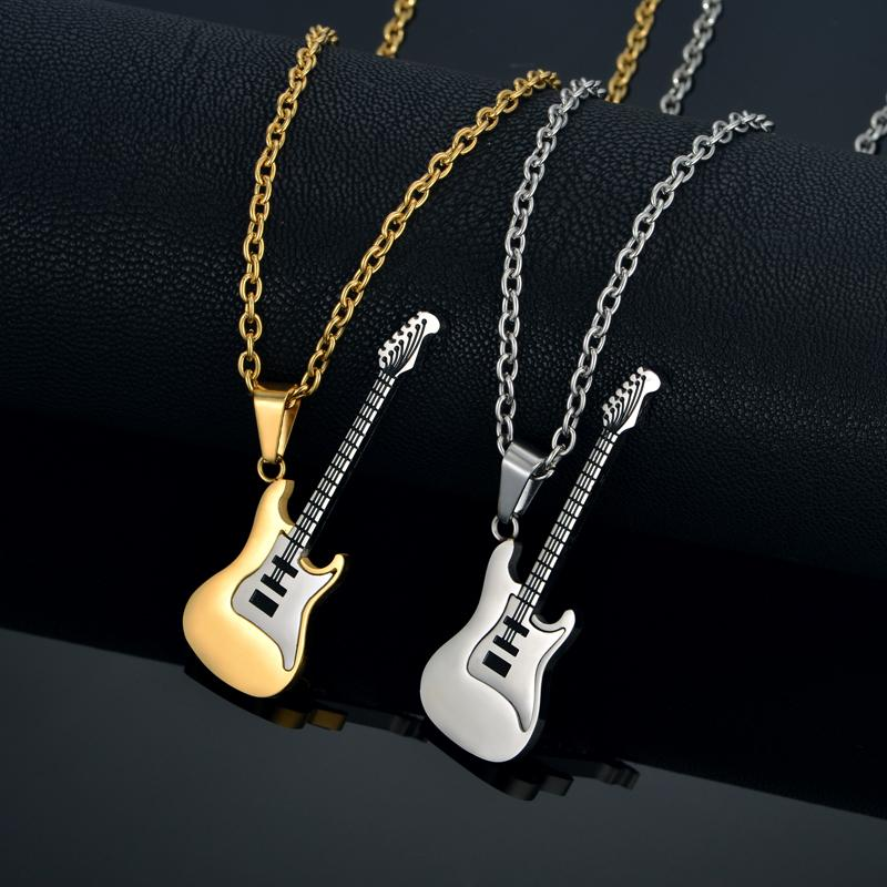 silver punk for crystal jewelry women trendy product necklace zirconi pendant gold necklaces pendants men guitar rock or products cubic music color image