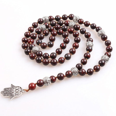 Image of Hamsa Hand Long Lariat necklace With Natural stone beads