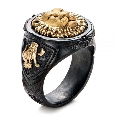 Mens Flat Top Black & Gold Lion Ring