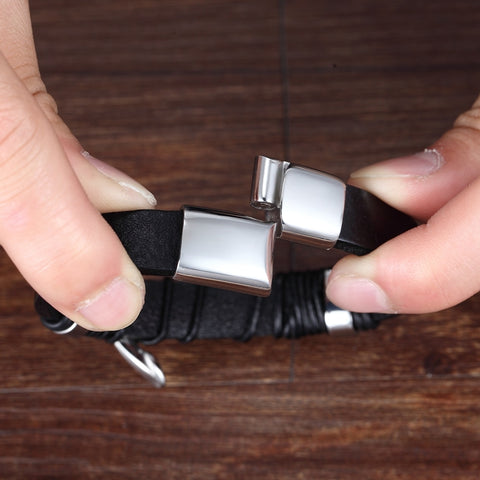 Men's Knot Top Leather Bracelet