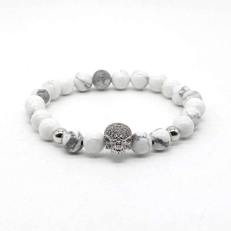 Skull Head and White Stone Beads Bracelet [ 4 Variation ]