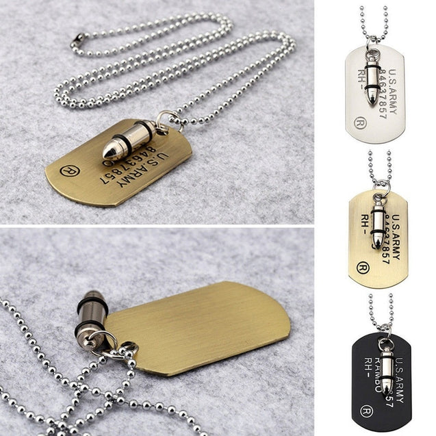 Men Dog Tags With Bullet Charm Fashion Pendant Necklace For Men