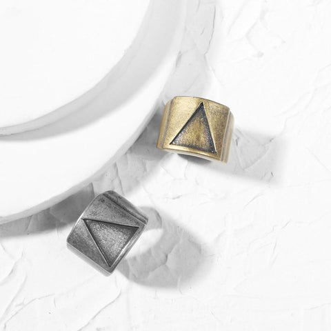 Image of Geometric Triangle Stainless Steel Mens Ring