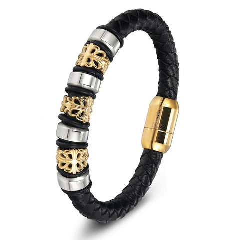 Genuine Leather Bracelets With Lion Charm