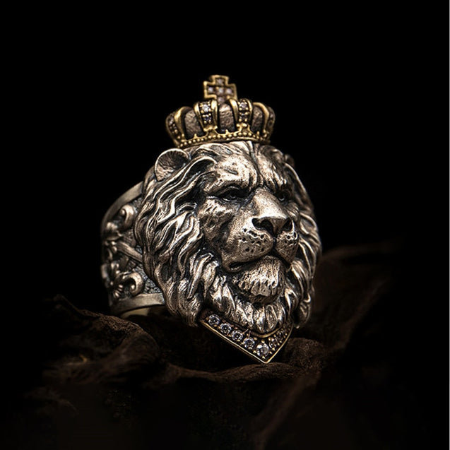 Lion Head Ring With Iced Out Crown.