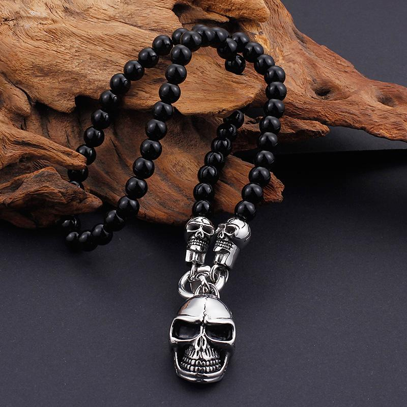 Beaded Skull Head Necklace