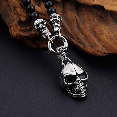 Image of Beaded Skull Head Necklace