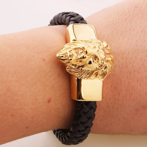 Mens Leather Lion Head Bracelet