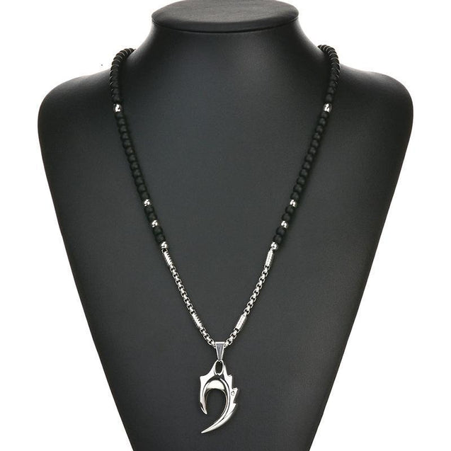 Wolf's Fang Pendant Necklaces With Black Lava Beads