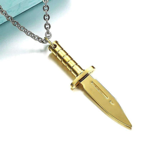 Stainless Steel Dagger Pendant Male Necklace [ 3 Variation ]