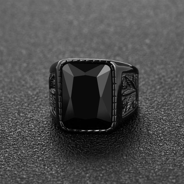 Mens Ring With Black Stone