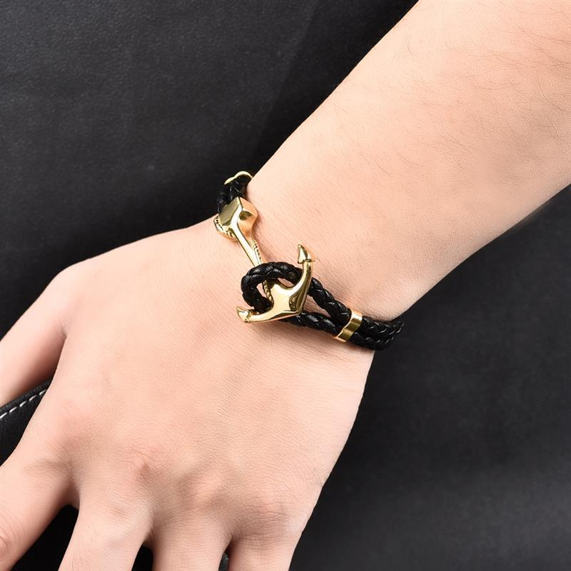 Anchor Clasp Black Braid Leather Bracelet