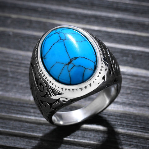 Men's Ring With Blue Stone High Polished Stainless Steel Men's Jewelry